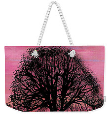 Weekender Tote Bag featuring the drawing Pink Sunset Tree by D Hackett