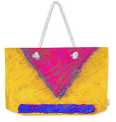 Pink Triangle On Yellow Weekender Tote Bag