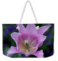 Pink Tulip Flower With A Spot Of Green Fine Art Floral Photography Print Weekender Tote Bag by Jerry Cowart