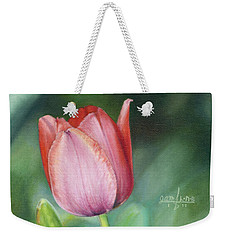 Weekender Tote Bag featuring the painting Pink Tulip by Joshua Martin