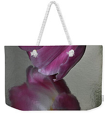 Pink Tulip Reflected In Silver Water Weekender Tote Bag
