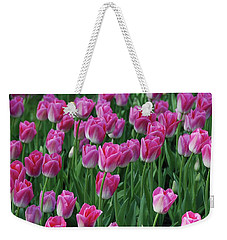 Weekender Tote Bag featuring the photograph Pink Tulips 2 by Allen Beatty