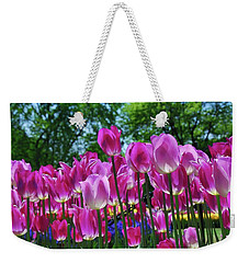 Weekender Tote Bag featuring the photograph Pink Tulips by Allen Beatty
