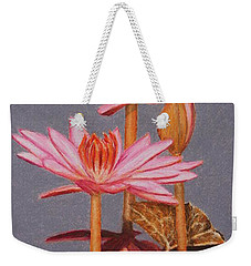 Pink Water Lilies Weekender Tote Bag by Marna Edwards Flavell