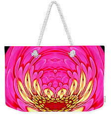 Weekender Tote Bag featuring the photograph Pink Zinnia Polar Coordinate 2 by Rose Santuci-Sofranko
