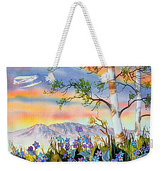 Weekender Tote Bag featuring the painting Piper Cub Over Sleeping Lady by Teresa Ascone