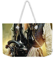 Pirates Of The Caribbean Johnny Depp Artwork 1 Weekender Tote Bag by Sheraz A