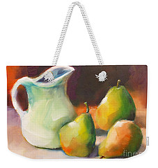 Weekender Tote Bag featuring the painting Pitcher And Pears by Michelle Abrams