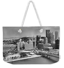 Pittsburgh Black And White Winter Panorama Weekender Tote Bag
