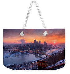 Weekender Tote Bag featuring the photograph Pittsburgh Skyline Winter 2 by Emmanuel Panagiotakis