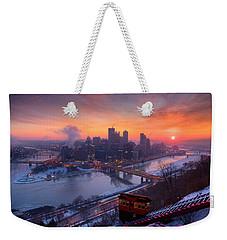 Pittsburgh Skyline Winter 2 Weekender Tote Bag