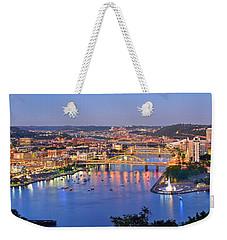 Pittsburgh Pennsylvania Skyline At Dusk Sunset Extra Wide Panorama Weekender Tote Bag