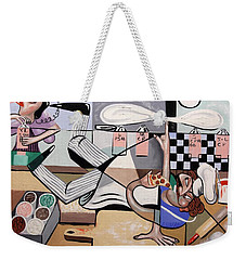 Weekender Tote Bag featuring the painting Pizza Break by Anthony Falbo