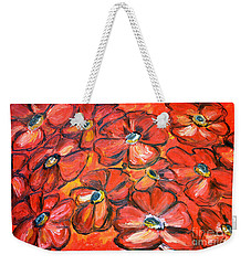 Weekender Tote Bag featuring the painting Plaisir Rouge by Ramona Matei