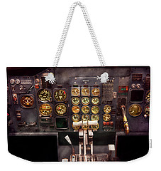 Plane - Cockpit - Boeing 727 - The Controls Are Set Weekender Tote Bag by Mike Savad
