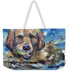 Playful Retriever Weekender Tote Bag by Donna Tuten