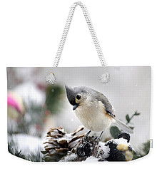 Playful Winter Titmouse Weekender Tote Bag by Christina Rollo