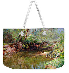 Weekender Tote Bag featuring the painting Pleasure Of  The Enchanted Wolf by Svitozar Nenyuk