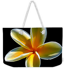 Plumeria Against Black Weekender Tote Bag by Pamela Walton