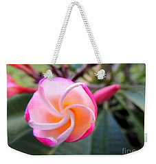 Weekender Tote Bag featuring the photograph Plumeria Curve by Kristine Merc