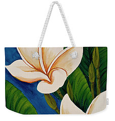 Weekender Tote Bag featuring the painting Plumeria  by Darice Machel McGuire