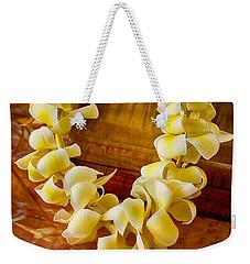 Plumeria Lei On Koa Box Weekender Tote Bag