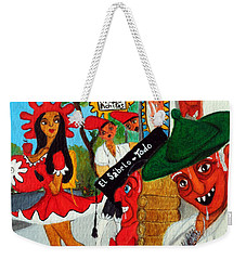 Weekender Tote Bag featuring the painting Pneumatic Girl At The Railroad Station by Don Pedro De Gracia