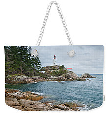 Point Atkinson Lighthouse And Rocky Shore Weekender Tote Bag by Jeff Goulden