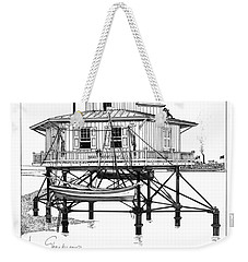Weekender Tote Bag featuring the drawing Point Of Shoals Lighthouse by Ira Shander