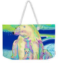 Polar Bear Aurora Weekender Tote Bag by Teresa Ascone
