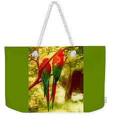 Weekender Tote Bag featuring the photograph New Orleans Polly Wants Two Crackers At New Orleans Louisiana Zoological Gardens  by Michael Hoard