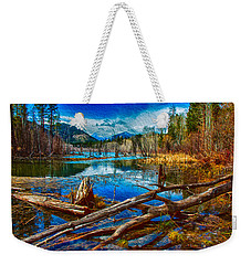 Weekender Tote Bag featuring the painting Pondering A Mountain by Omaste Witkowski