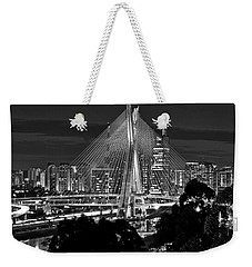 Sao Paulo - Ponte Octavio Frias De Oliveira By Night In Black And White Weekender Tote Bag
