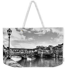 Ponte Vecchio At Florence Italy Bw Weekender Tote Bag