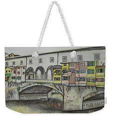 Weekender Tote Bag featuring the painting Ponte Vecchio Florence Italy by Malinda  Prudhomme