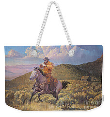 Pony Express Rider At Look Out Pass Weekender Tote Bag by Rob Corsetti