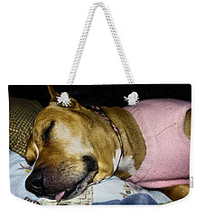 Weekender Tote Bag featuring the photograph Pooped Pup by Robyn King