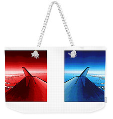 Weekender Tote Bag featuring the photograph Red Blue Jet Pop Art Planes  by R Muirhead Art