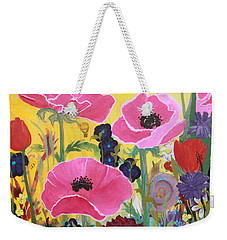 Weekender Tote Bag featuring the painting Poppies And Time Traveler by Robin Maria Pedrero