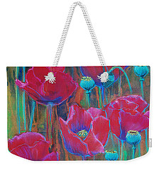 Weekender Tote Bag featuring the painting Poppies  by Jani Freimann