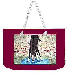 Weekender Tote Bag featuring the painting Poppies N  Puddles by Angela Davies