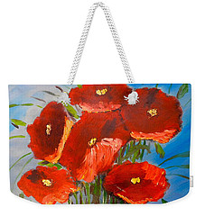 Weekender Tote Bag featuring the painting Poppies On The Window Ledge by Pamela  Meredith