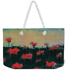 Weekender Tote Bag featuring the painting Poppy Field by Jacqueline McReynolds