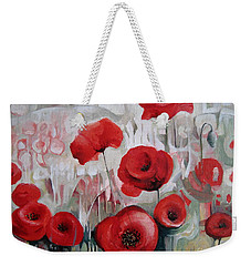 Weekender Tote Bag featuring the painting Poppy Flowers by Elena Oleniuc