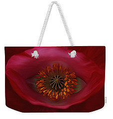 Weekender Tote Bag featuring the photograph Poppy's Eye by Barbara St Jean