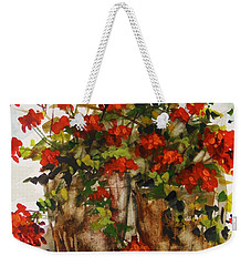 Porch Geraniums Weekender Tote Bag by John Williams