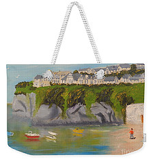 Weekender Tote Bag featuring the painting Port Asaac Cornwell by Pamela  Meredith