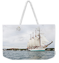 Juan Sebastian De Elcano Famous Tall Ship Of Spanish Navy Visits Port Mahon In Front Of Bloody Islan Weekender Tote Bag