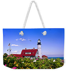 Portland Head Light And Roses Weekender Tote Bag