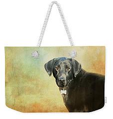 Portrait Of A Black Labrador Retriever Weekender Tote Bag